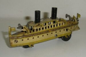 antique german tin penny toy steam ship