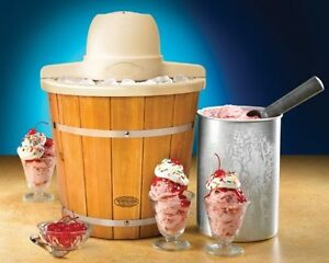4-Quart Wood Bucket Electric Ice Cream Maker Vintage Old Fashioned Collection NE
