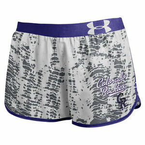 Under Armour Colorado Rockies Women's Performance Tied Up Gray Running Shorts