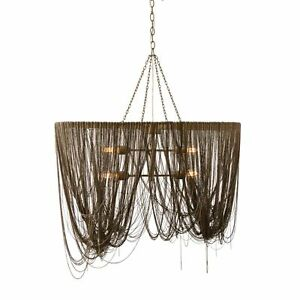 Pendant Contemporary Antique Brass Iron Gold Chain Finish 52in Height