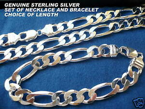 12mm 925 STERLING SILVER MEN'S FIGARO LINK NECKLACE(CHAIN) AND BRACELET SET