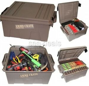 Plastic Ammo Case Can Tools Storage Utility Box Shooting Large Crate Padlock New