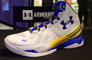 Under Armour Stephen Curry 2 II Gold Rings World Champion White Gold Blue 8-13
