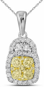 14K White and Yellow Gold Pendant with 0.737 CT White and Yellow Diamonds