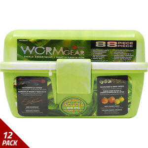 South Bend Worm Gear 88 Piece Loaded Tackle Box Green WG-TB88-G [12 Pack