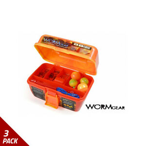 South Bend Worm Gear 88 Piece Loaded Tackle Box Orange WG-TB88 [3 Pack