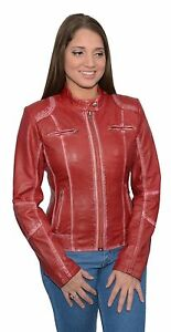 Ladies RED Sheepskin Leather Scuba Style Moto Jacket w Zipper Front Snap Collar