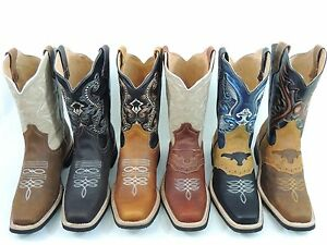 MEN#x27;S RODEO COWBOY BOOTS GENUINE LEATHER WESTERN SQUARE TOE BOTAS SADDLE WORK $58.99