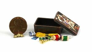 Dollhouse Miniature Antique Sewing Box with Accessories $6.99