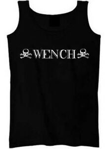 Wench Pirate Skull & Bones Shirt Women's Graphic Tank Top Size S 2XL Black