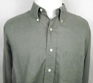 Brooks Brothers Sport Shirt Size Large Linen Button Collar Long Sleeve Olive
