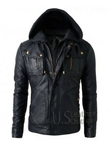 Men's New Motorcycle Cool Style Biker Real Leather Hoodie Jacket - Detach Hood