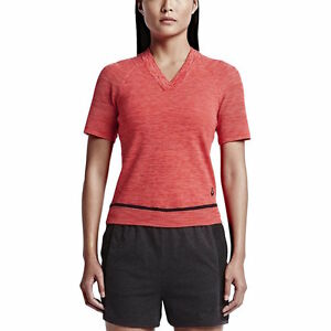 NIKE Women's Tech Knit Sport Casual Knitted V Neck Top Shirt Red  Crimson SMALL