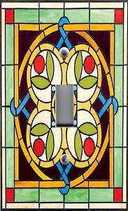 Light Switch Plate Outlet Covers STAINED GLASS LOOK CELTIC FLORAL