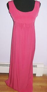 GORGEOUS PINK CORAL RAYON DESIGNER DRESS EMPIRE WAIST BEAUTIFUL DETAILS S