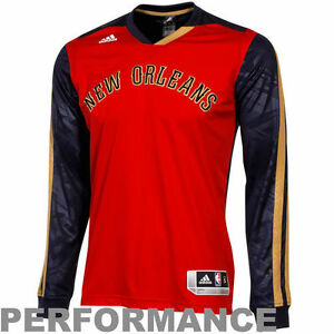 adidas New Orleans Pelicans On-Court Shooter Long Sleeve T-Shirt - RedNavy Blue