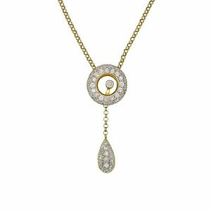 18K Yellow Gold 1.25Ct Tear Drop Inspired Necklace With Floating Diamond