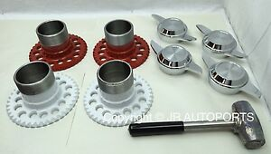 4 wire wheel adapters 2 Bar swept cutout knock offs chrome Spinners lead hammer