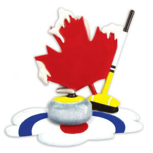 Canadian Curling Personalized Christmas Tree Ornament