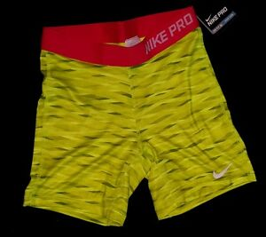 NWT GIRLS NIKE SPANDEX TRAINING RUNNING SHORTS~SIZE MEDUIM YELLOW GRAY RED YOUth