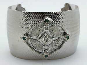 Women's 925 Sterling Silver Bangle Bracelet Cuff Free Size with Green CZ Stones