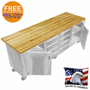 STAINLESS STEEL ISLAND WOOD MAPLE TABLE TOP 30