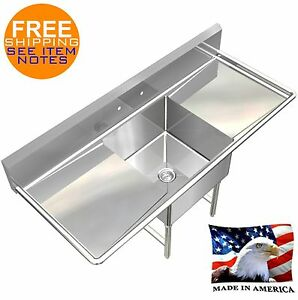 POT SINK HEAVY DUTY STAINLESS STEEL 14GA 1 TUB 54X24 NSF APPROVED MADE IN USA