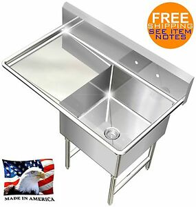 POT SINK HEAVY DUTY STAINLESS STEEL 16GA 1 TUB 39X24 NSF LEFT DRAINBOARD ONLY