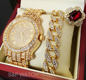 MEN HIP HOP ICED OUT GOLD TONE BEST SELLER WATCH & RING & BRACELET COMBO SET