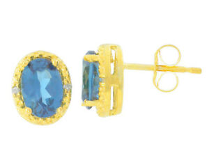 2 Ct London Blue Topaz & Diamond Oval Stud Earrings 14Kt Yellow Gold Plated