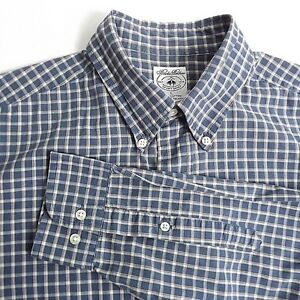 Brooks Brothers Mens Shirt Size Large Sport Shirt Long Sleeve Blue Red Tan Check