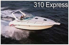 Silverton 310 Express Canvas Enclosure Set:Bimini Top Side Curtains Visor Aft