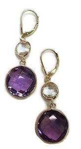 Amenthyst & White Topaz Round Dangle Earrings14K Yellow Gold Leverbacks
