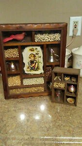 Vintage Wood Stand Hang Curio Cabinet Display Shelf Wall