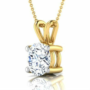 CLASSIC DESIGN 2.00 CT F VVS2 ROUND DIAMOND PENDANT 18 K YELLOW GOLD NECKLACE