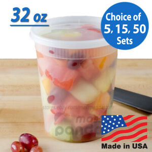 32 oz Heavy Duty Large Round Deli Food/Soup Plastic Containers w/ Lids BPA free