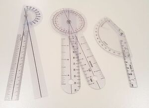 Set of 3 PIECE SPINAL FINGER GONIOMETER PROTRACTOR RULER 360 DEGREE 6 inch $9.98