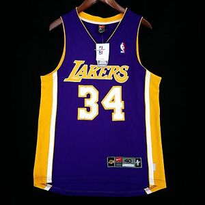 100% Authentic Shaquille O'neal Nike Dri Fit Lakers Jersey Sz 40 M - Shaq Oneal