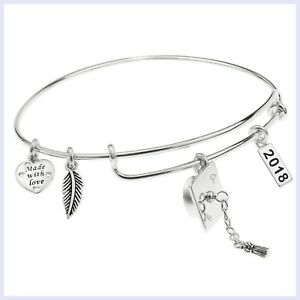 Qina C. Sterling Silver Graduation Feather Charm Adjustable Wire Bangle Bracelet
