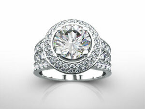 DESIGN 3.85 CARAT F SI2 ROUND DIAMOND RING 18 K WHITE GOLD WITH ACCENTS