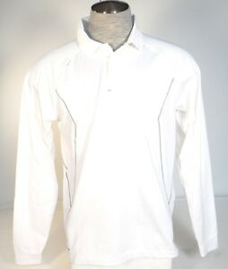 Under Armour Coldgear White Long Sleeve Loose Fit CB Polo Shirt Mens NWT