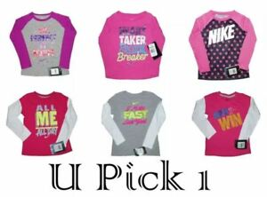 Nike T-Shirt Long Sleeve Girls Sports Athletic Top Tee LS Warm Active Little