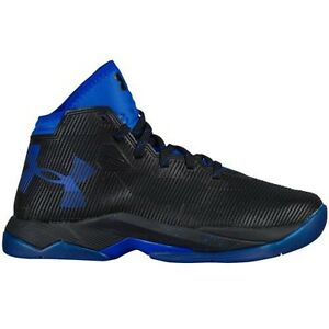 UNDER ARMOUR UA Kids Boys Curry 2.5 Basketball Shoes Sneakers Black Royal Blue
