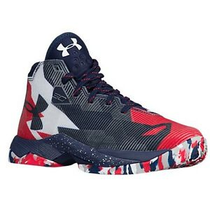 UNDER ARMOUR UA Kids Boys Curry 2.5 Basketball Shoes Sneakers White Red Blue