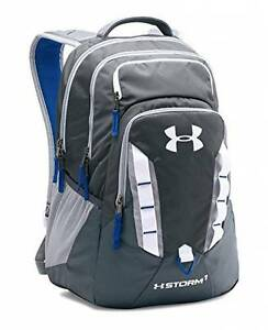 Under Armour Storm Recruit Backpack grey white blue NEW 1261825-008
