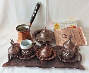 Dark Copper Turkish Coffee Espresso Set Cups Cezve-Pot Gift Coffee -Delight Tray
