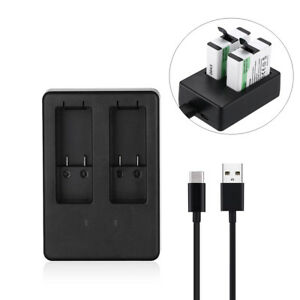 Dual Battery Charger for GoPro HERO5 HERO 5 AHDBT-501 Black w USB Type C Cable