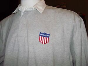 VINTAGE RALPH LAUREN POLO SPORT RUGBY SHIRT K SWISS & USA SPELLOUT BACK PATCH XL