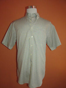 Brooks Brothers 346 Non-Iron Size L Yellow & Blue Plaid Short Sleeve Sport Shirt