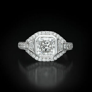 UNIQUE DESIGN 3.50 CT F SI2 RADIANT DIAMOND W SIDE STONES RING 18K WHITE GOLD